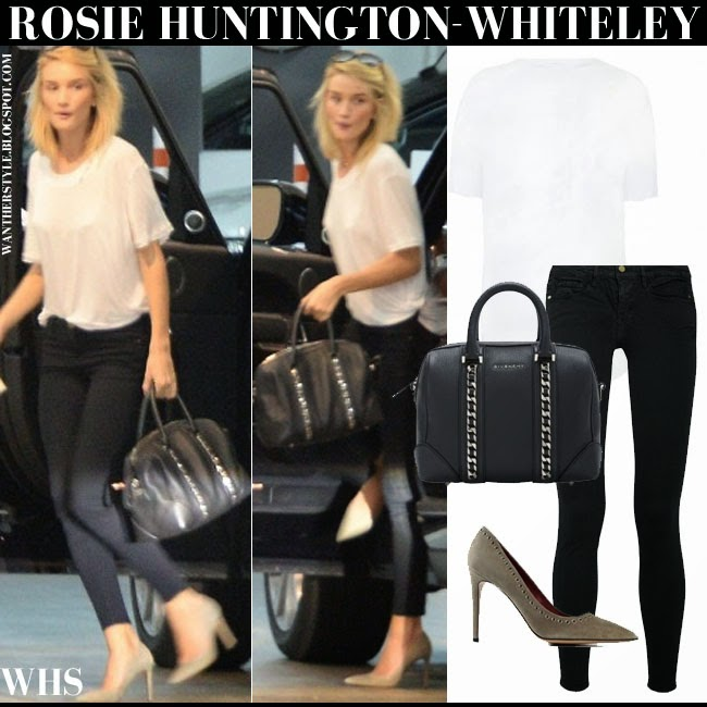 Rosie Huntington-Whiteley in white t-shirt, black skinny Frame Denim jeans, suede Isabel Marant Laurie pumps with black tote what she wore may 21 streetstyle chic