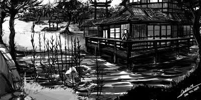 japanese house with lady contemplating