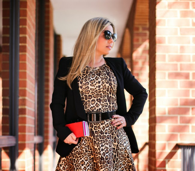 animal print dress with black belt