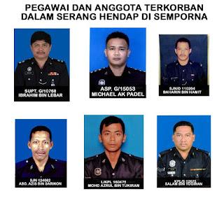Senarai Nama Polis Terbunuh Di Semporna Sabah