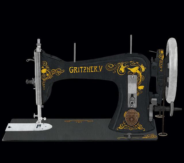 cabeza maquina de coser, sin tabla, Gritzner, dibujo