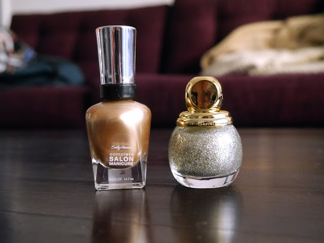 Sally Hansen Fool's Gold, Dior State of Gold nail polish manicure, holiday look