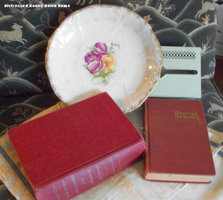 Thrift shop, vintage finds, china, linen, books