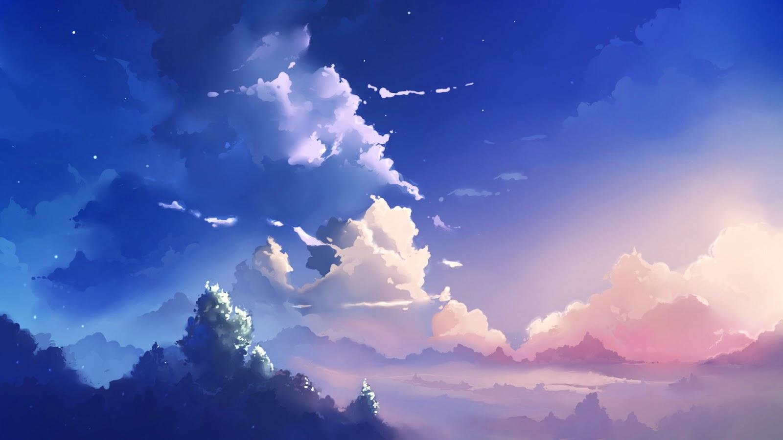 sky anime landscape