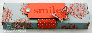 Smile Box with Four Decorated Tea Lights by UK based Stampin' Up! Demonstrator Bekka Prideaux - book a class for you and your friends to learn how to make this
