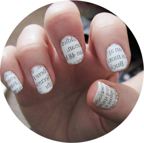 Cut Out A Little Section Of The Newspaper Place It On Your Nail 4 Put Rubbing Alcohol Cotton Ball And Dab Over 5 There You Go