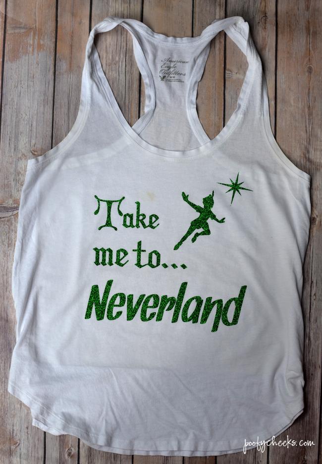 FREE Silhouette Studio File - Take me to Neverland. DIY Disney vacation shirt.