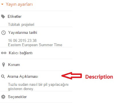 Blogger description (Açıklama) ekleme yapma