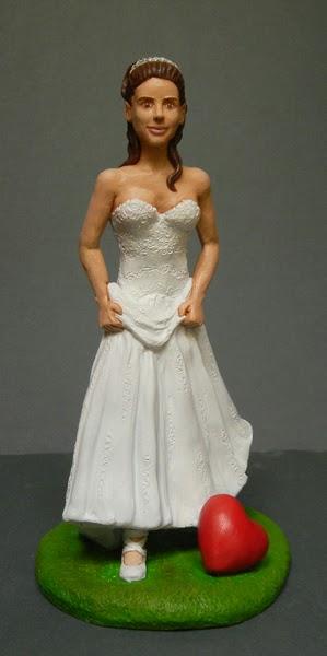 statuina personalizzata torta nuziale sposa cuore ritratto viso orme magiche