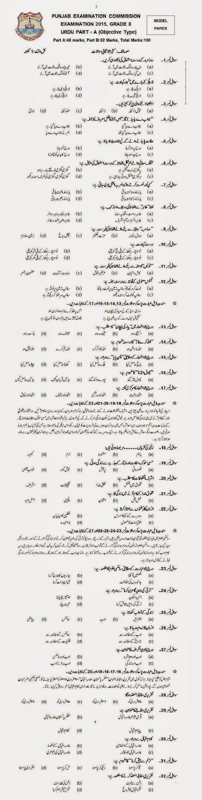 Model Paper Urdu 8th Class 2015 Objective Part