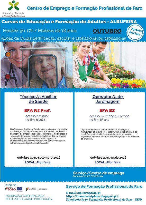 Cursos efa financiados Albufeira 2015 (B2 e NS Profissional)