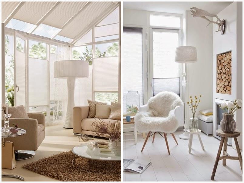 Białe plisy - inspiracje salon