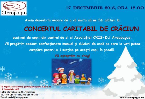 Concert Caritabil la Centrul Areopagus Timisoara - 17 decembrie 2015