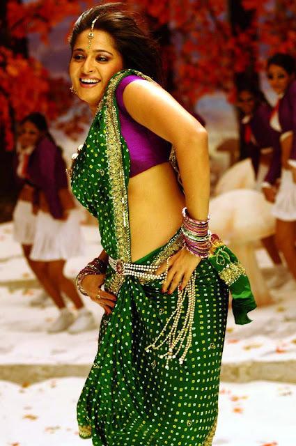 Actress Anushka in Green Saree Photos