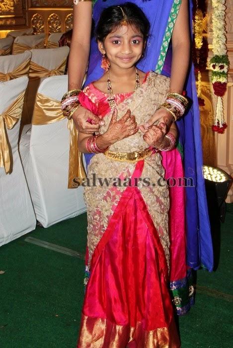 Baby in Pink Silk Half Saree