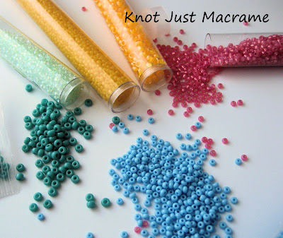 Apricot, blue, teal and pink seed beads