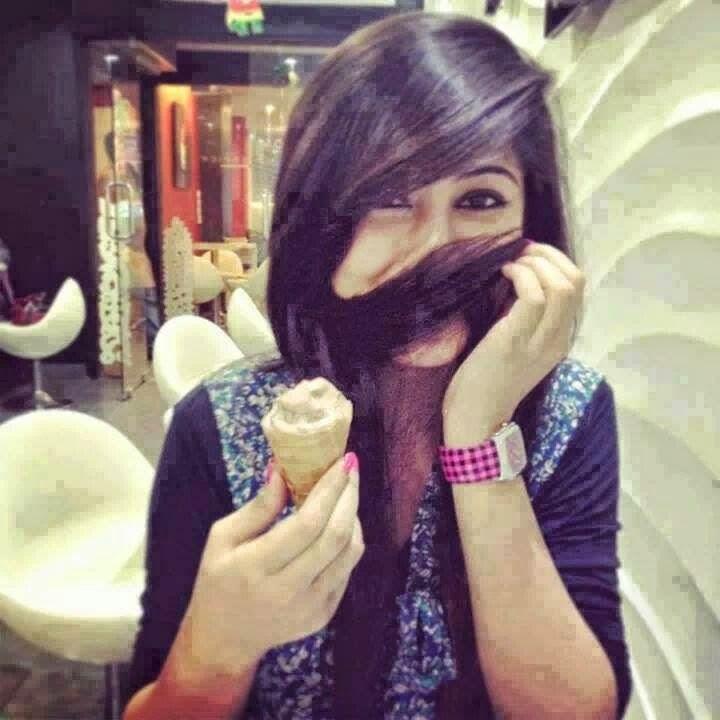 Ice cream girl hide face with hair