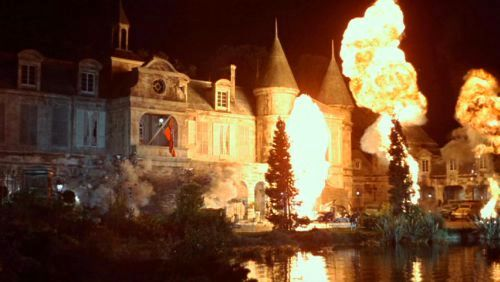 The French chateau blowing up in The Dirty Dozen movieloversreviews.blogspot.com