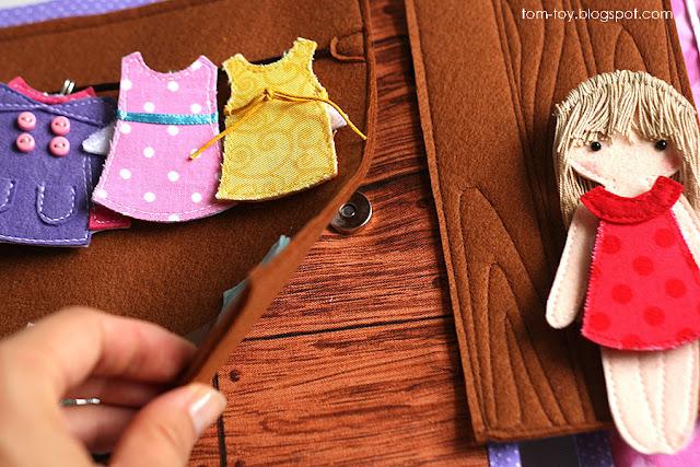 Handmade quiet book Dollhouse, busy book for girl, Развивающая книжка Кукольный домик, шкаф