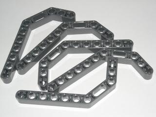 LEGO 5 Dark Bluish Gray Technic Liftarms 1x11.5 Double Bent Thick 70005