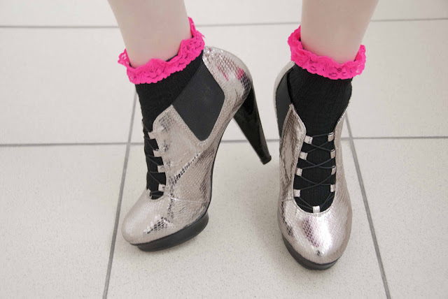 socks, frills, Topshop, silver, metallic, shoes