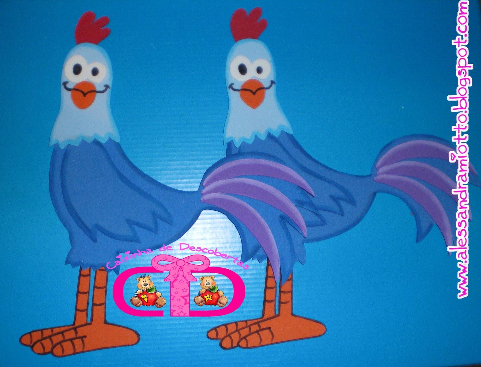 esses dois galos fofos e as duas galinhas também medem aprox. 30 cm