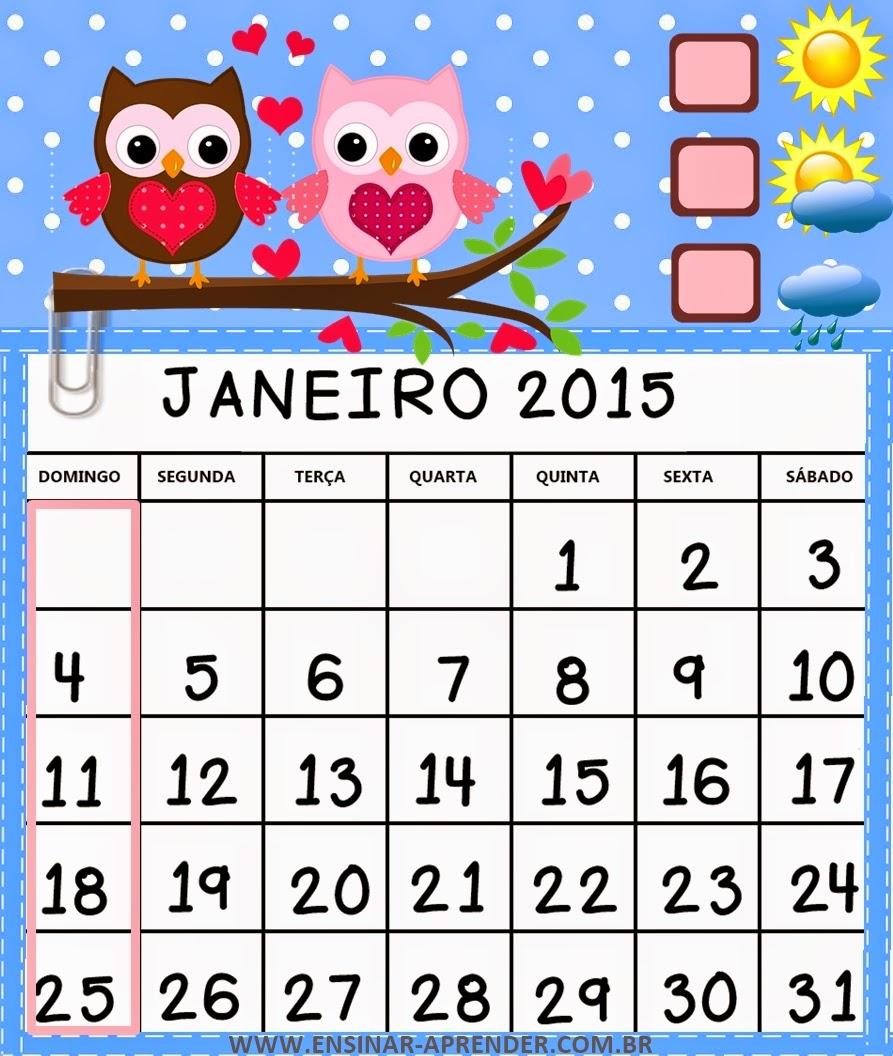 CALENDÁRIO 2015 CORUJINHAS COLORIDO - MUITO FOFO