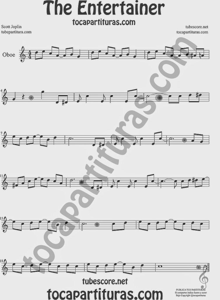 The Entertainer Partitura de Oboe Sheet Music for Oboe Music Score