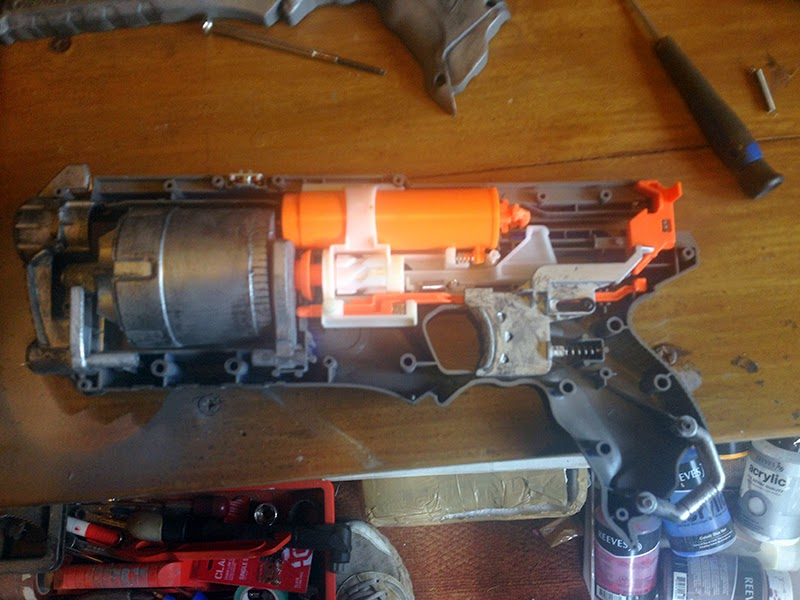 Inside a custom Strongarm NERF gun