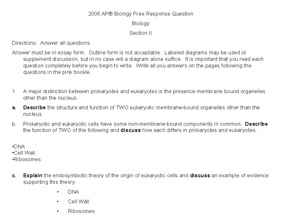 ap bio essay questions on genetics Ap biology course outline ap biology is an intensive course designed to be the equivalent of an introductory response questions must be in essay form.