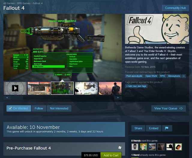 Screenshot of Fallout 4 on Steam Store Page