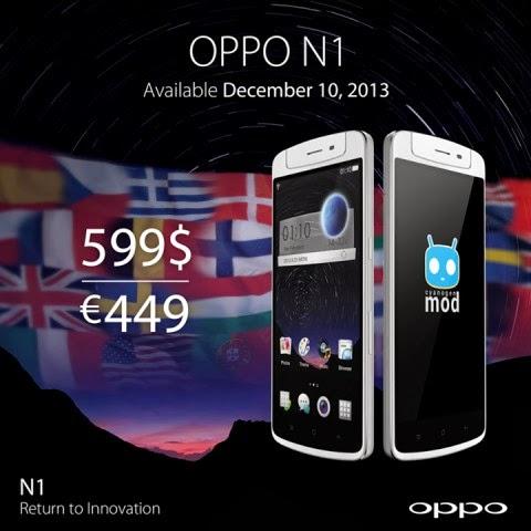 A partire dal 10 dicembre 2013 Oppo N1, lo smartphone/phablet innovativo sarà venduto anche in Europa a partire da 449 euro