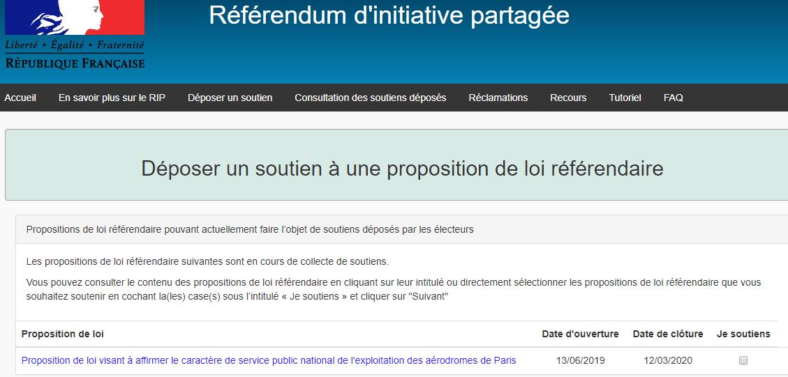 Appel à se saisir du référendum d'initiative partagée