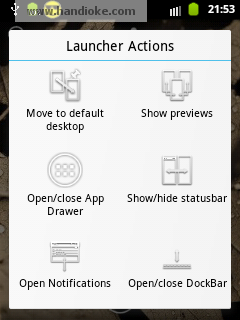 Launcher Actions ► pilih Show/hide statusbar dan Open/close dockbar