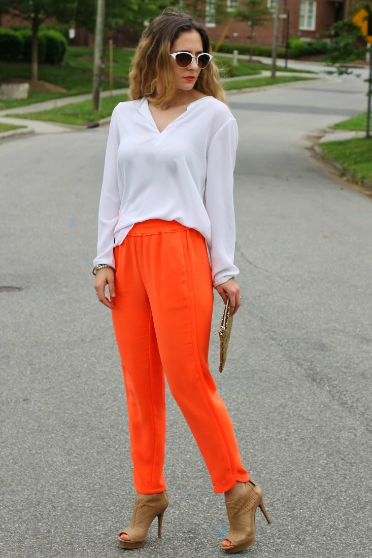 J.Crew neon orange pants with ankle boot