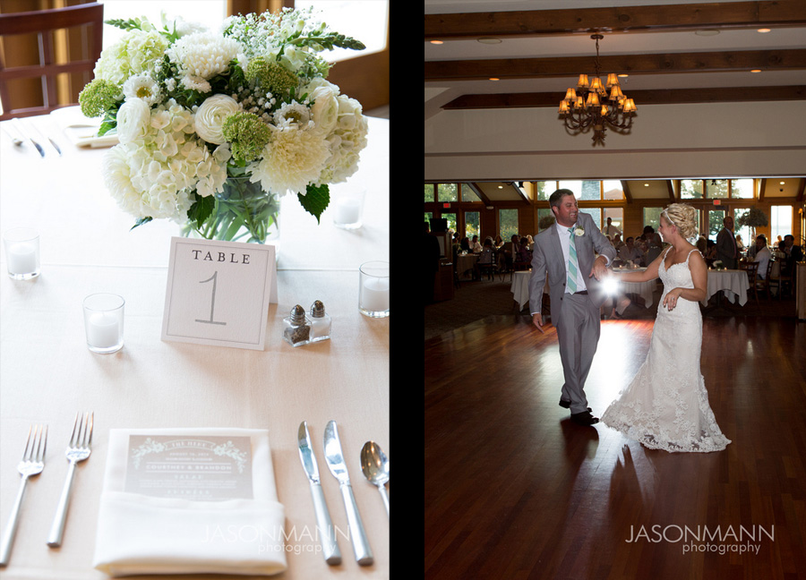 Door County wedding. White wedding bouquet. Wedding reception table setting. Photo by Jason Mann Photography, 920-246-8106, www.jmannphoto.com