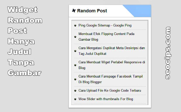 Widget Random Post Hanya Judul Tanpa Gambar