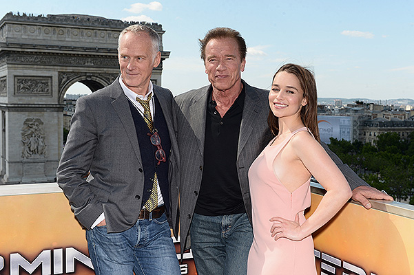 Terminator: Genisys: Arnold Schwarzenegger and Emilia Clarke, Photo call at fotokolle in Paris