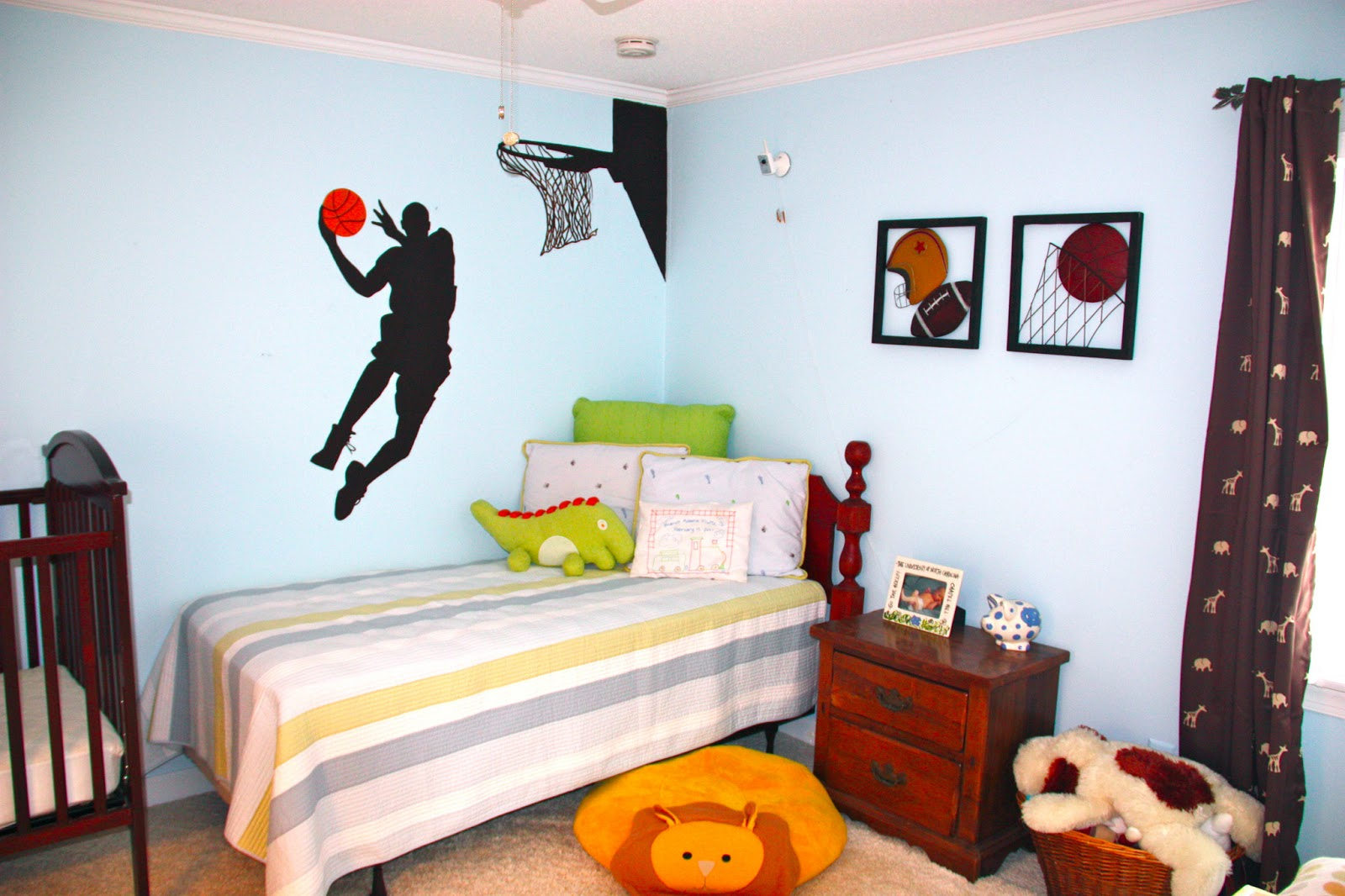 creations by kristen children s rooms nurseries i painted the basketball player on the wall because he is obsessed with sports