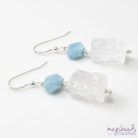 Chunky Quartz and Aquamarine Earrings - magsbeadscreation.com