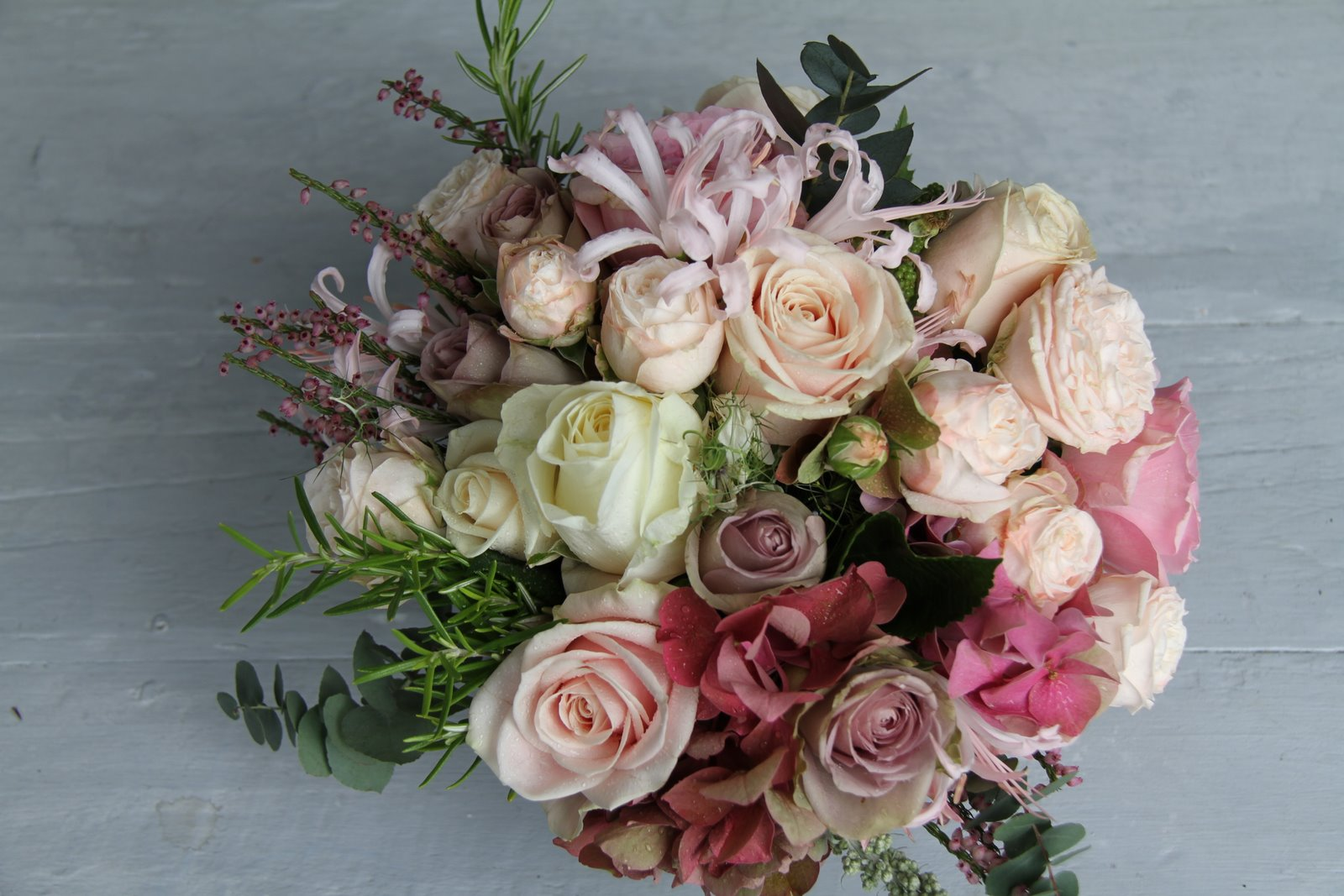 The flower magician vintage romance wedding bouquet english garden roses and herbs - Garden rose bouquet ...