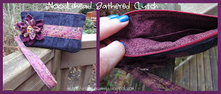 Noodlehead Gathered Clutch, black and burgundy collage