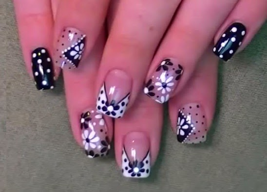 Easy And Simple Flowers Nails Art