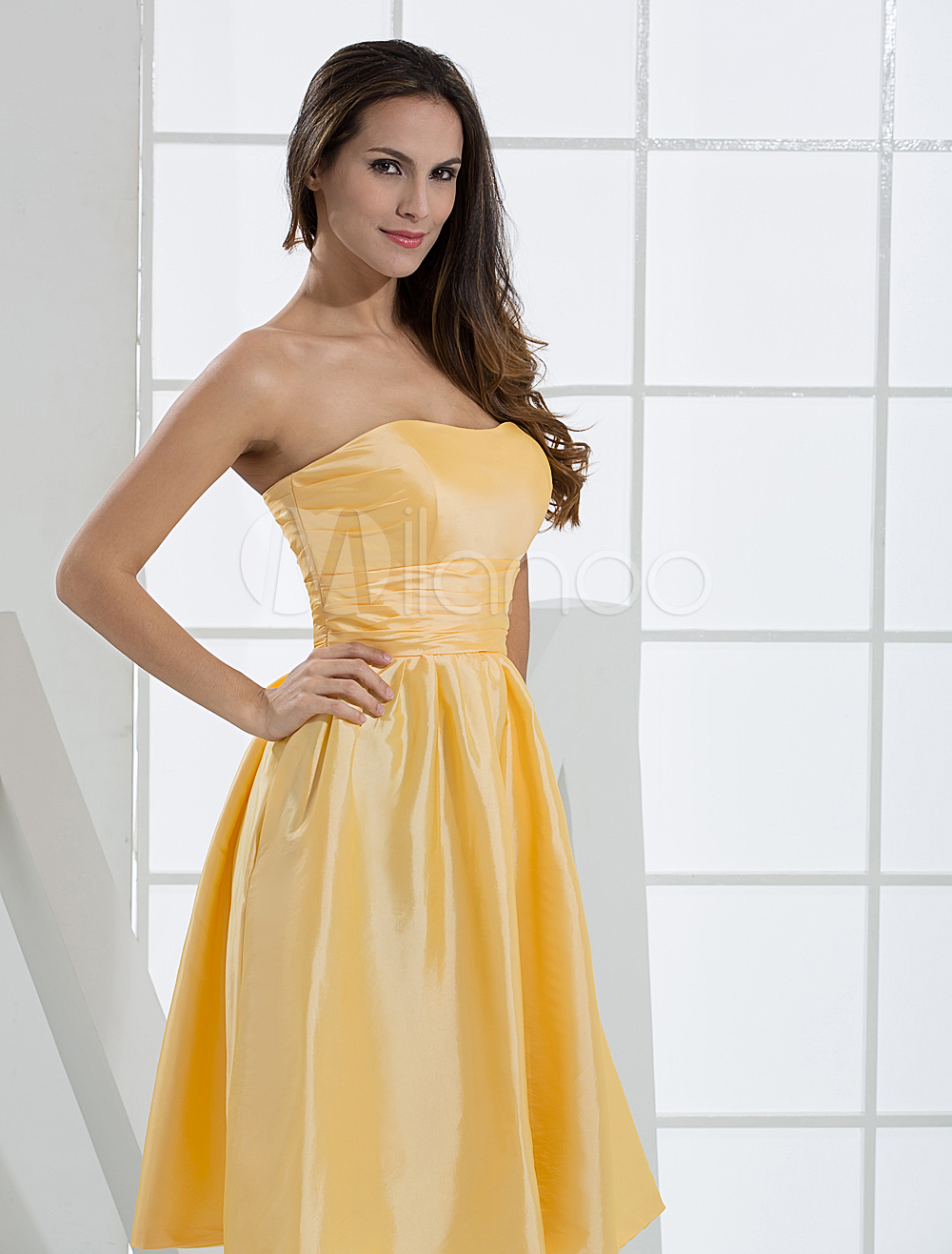 China Wholesale Dresses - Strapless Wrapped Taffeta Homecoming Prom Dress