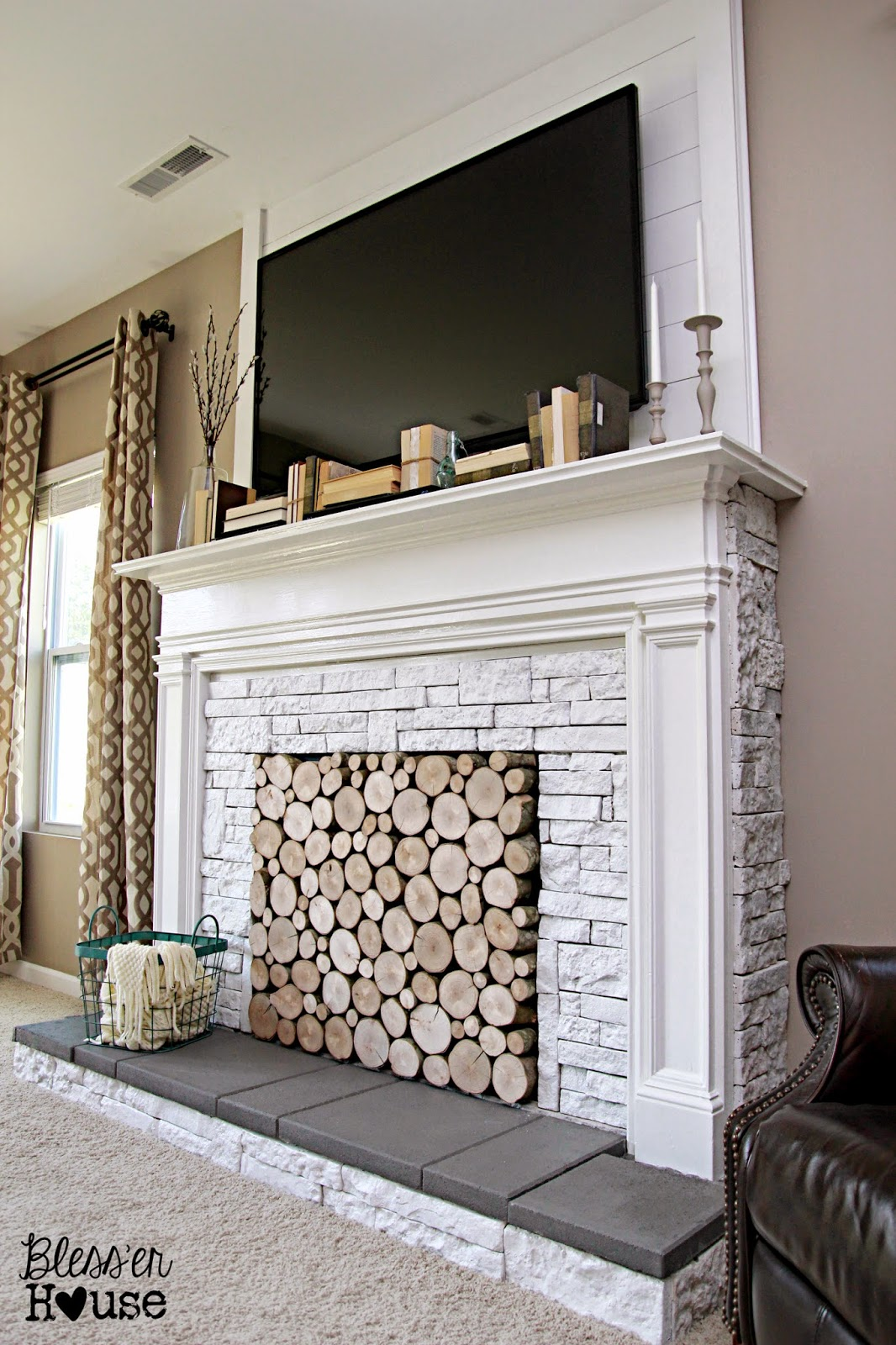 Diy faux fireplace for under 600 the big reveal bless Fireplace ideas no fire