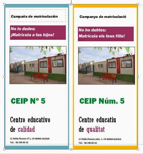 Tríptic campanya de matriculació CEIP Núm. 5 curs 2015-16