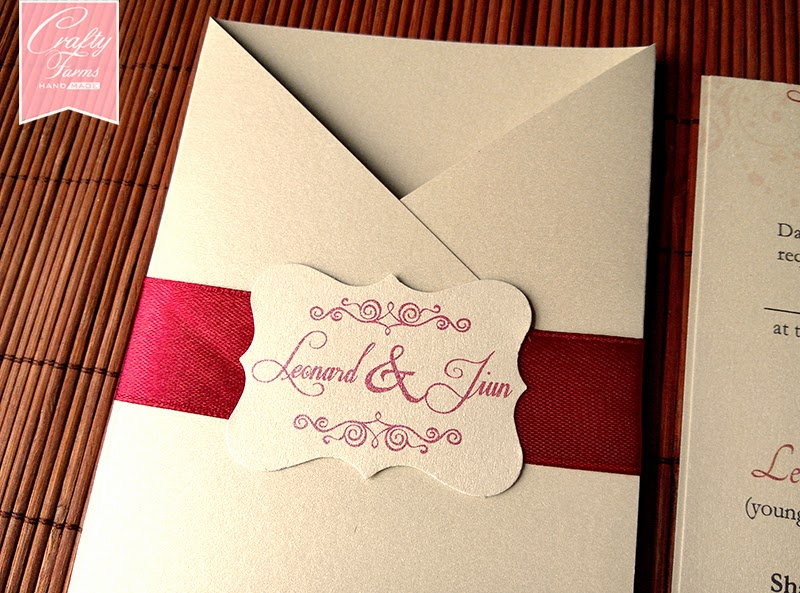 Elegant Red Vintage Pocket Wedding Card