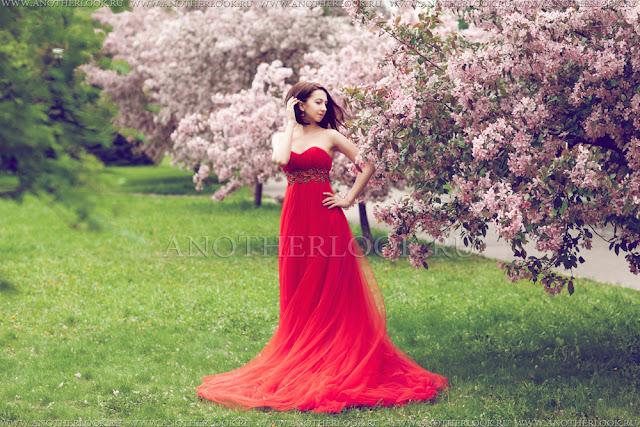 красное платье фотосессия аренда
