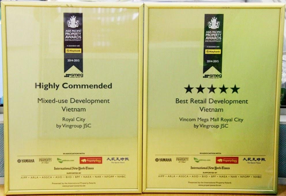 Dự án Royal City nhận 2 giải thưởng bất động sản Châu Á Thái Bình Dương