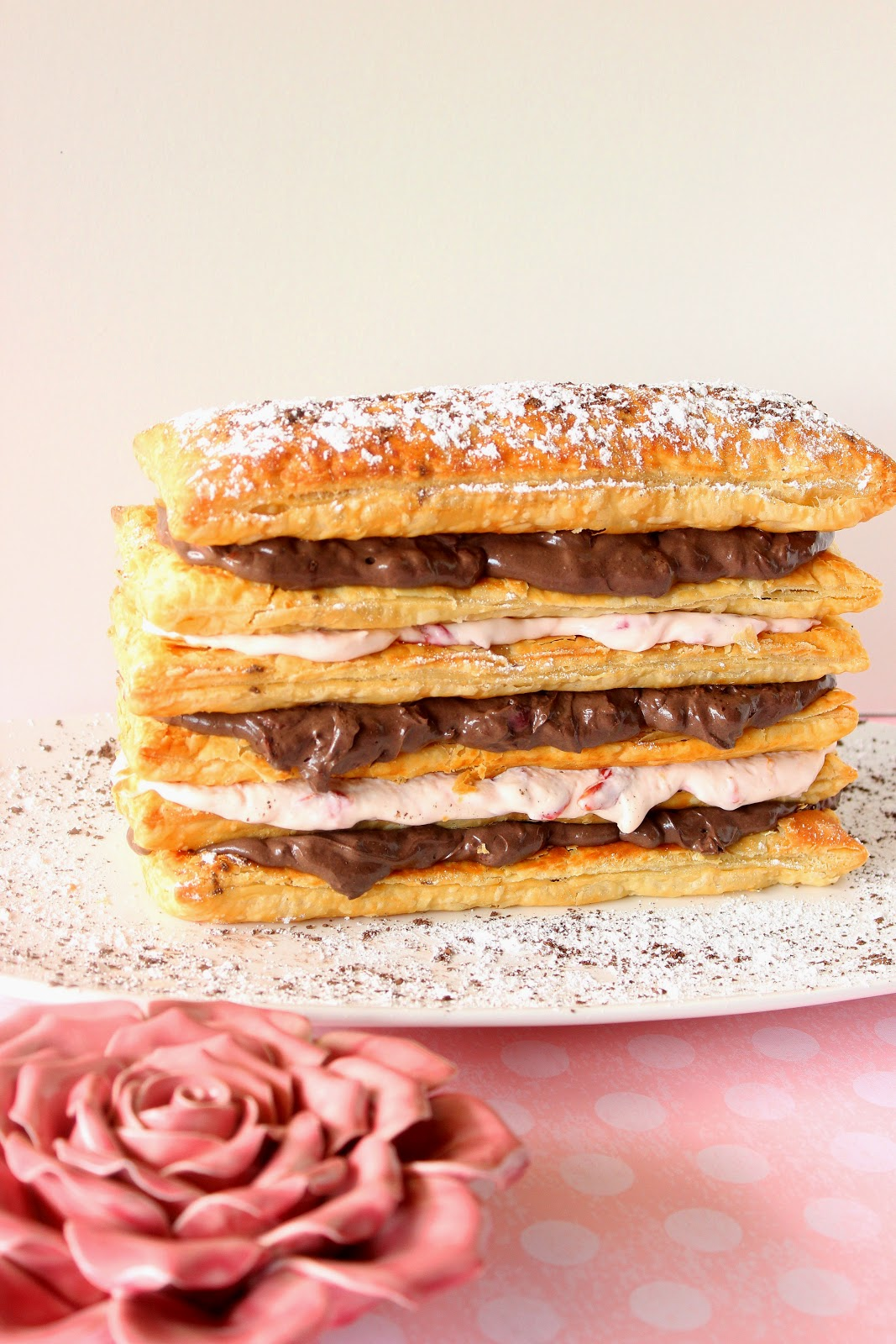 Chocolate Cherry Cream Pastry Tower Recipe